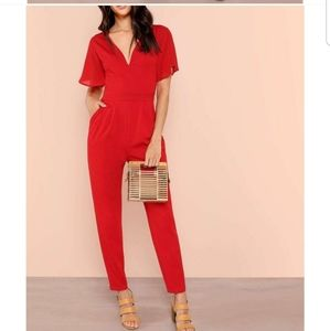 NWT Red tailored cocktail jumpsuit, size 6.